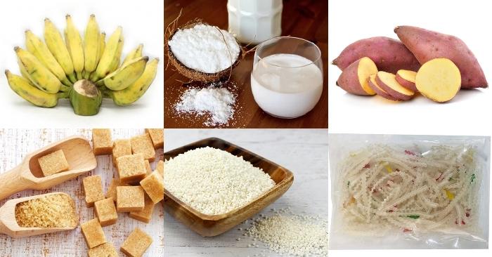 chè chuối bột năng, ngọt tự nhiên, bột, bột năng, sữa tươi, nấu chè, miền tay, chuối thái, khoai dẻo.
