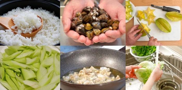 cách làm cháo hến ngon, đậu xanh, nấm rơm, miền bắc, cho be, cho bà bầu, không tanh, bổ dưỡng.