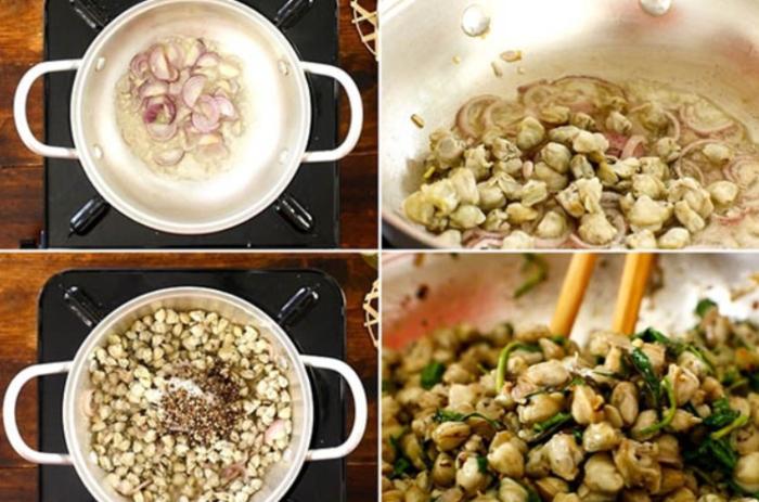 cách nấu bún hến nước, nước lèo, chua cay, rau cần, dân dã, đãi khách, độc lạ, bổ thận, phổi, máu.