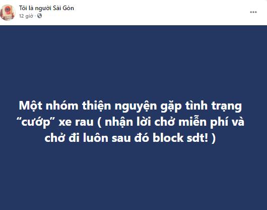 """Trang """"Tôi là người Sài Gòn"""" thông báo về sự việc."""