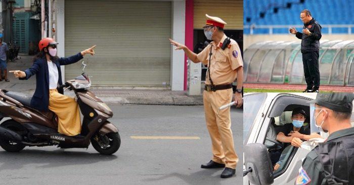 Từ trái qua: Kiểm tra giấy tờ của người Sài Gòn ra đường ngày 9/7; HLV Park cầu nguyện trước trận đấu; xuất trình giấy tờ tại cửa ngõ Sài Gòn