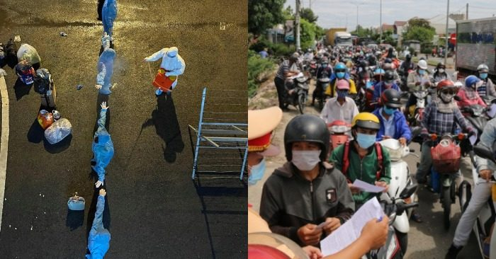 Nhân viên y tế BVDC số 3 (phường An Khánh, TP Thủ Đức) được khử khuẩn trước và sau khi tiếp nhận bệnh nhân (ảnh trái); Người dân Quảng Nam rời Đà Nẵng (ảnh chụp màn hình báo Sài Gòn giải phóng/VTC).