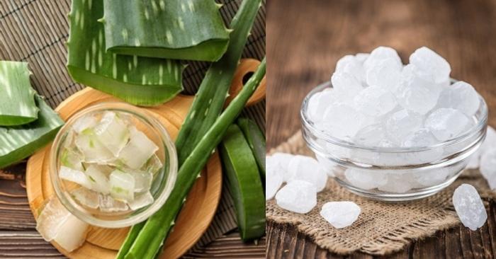 Nha đam và đường phèn là nguyên liệu tạo nên thức uống giàu dưỡng chất tốt cho sức khỏe và nhan sắc.