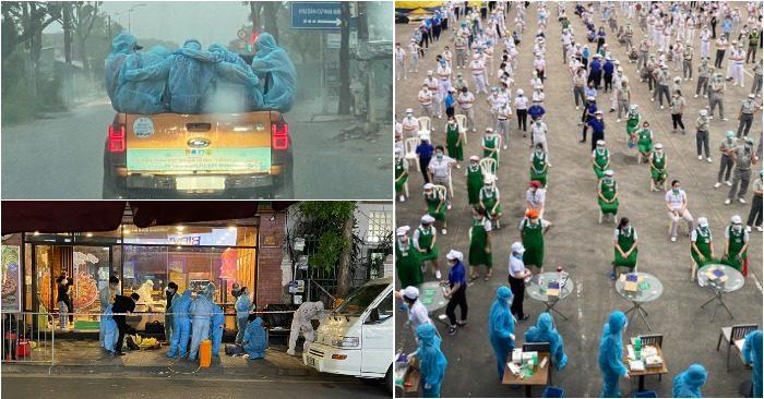 Từ trái qua: Nhóm tình nguyện viên dầm mưa 2 tiếng ở Sài Gòn; lấy mẫu xét nghiệm tại công ty có hơn 700 ca nhiễm; phong tỏa quán pizza ở Hà Nội có ca dương tính đêm 15/7 (ảnh chụp màn hìn