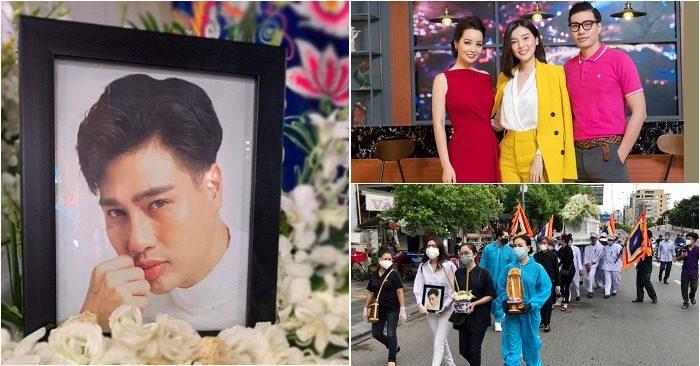 Từ trái qua: Di ảnh diễn viên Đức Long; nam diễn viên thân thiết bên Cao Thái Hà (ở giữa); lễ di quan nam diễn viên, sáng 9/7